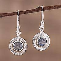 Labradorite dangle earrings, 'Dusky Charm' - Sterling Silver and Labradorite Round Dangle Earrings
