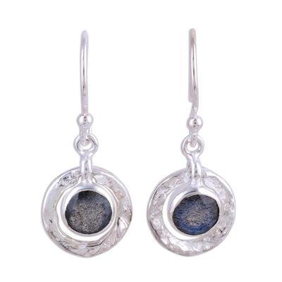 Labradorite dangle earrings, 'Dusky Charm' - Sterling Silver and Labradorite Round Dangle Earrings