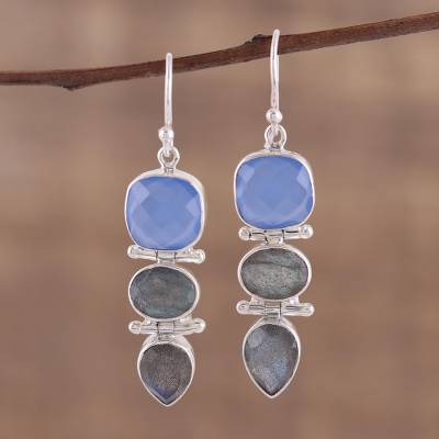 Labradorite and chalcedony dangle earrings, Cool Eventide