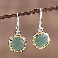 Gold accented aventurine dangle earrings, 'Forest Glade' - Gold Accented Dangle Earrings with Aventurine