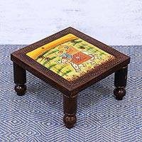 Wood stool, 'Royal Adventure' (small) - Handcrafted Elephant-Themed Wood Stool (Small) from India
