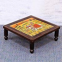 Wood stool, 'Royal Adventure' (large) - Handcrafted Elephant-Themed Wood Stool (Large) from India