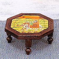 Wood stool, 'Mughal Couple' (medium) - Handmade Octagonal Elephant Wood Stool (Medium) from India