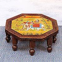 Wood decorative stool, 'Mughal Couple' (19 inch) - Indian Handmade Decorative Octagonal Elephant Wood Stool
