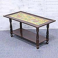 Wood accent table, 'Royal Adventure' - Handcrafted Mughal-Themed Wood Accent Table from India