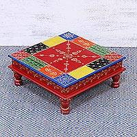 Wood stool, 'Flower Colors' (15 inch) - Handcrafted Floral Colorful Wood Stool (15 in.) from India