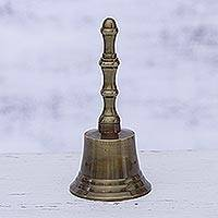 Brass bell, 'Happy Sound' - Artisan Crafted Brass Bell Home Accent from India