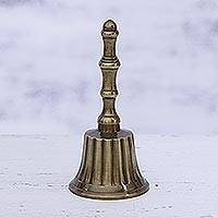 Brass bell, 'Peaceful Sound' - Artisan Crafted Striped Brass Bell from India
