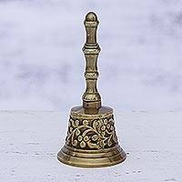 Brass bell, 'Happy Vine' - Artisan Crafted Vine Motif Brass Bell from India