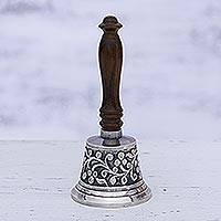Nickel plated brass and wood bell, 'Happy Vine' - Vine Motif Nickel Plated Brass and Wood Bell from India