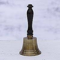 Brass and wood bell, 'Happy Sound' - Artisan Crafted Brass and Wood Bell from India