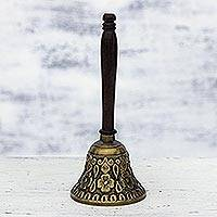 Brass and wood bell, 'Floral Backyard' - Brass and Wood Bell with Floral Motifs from India