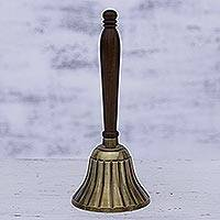Brass and wood bell, 'Harmonious Song' - Brass and Wood Bell with Striped Motifs from India