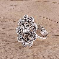 Sterling silver cocktail ring, 'Spiral Magnificence' - Spiral Motif Sterling Silver Cocktail Ring from India