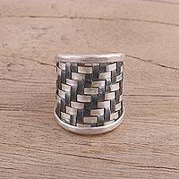 Sterling silver wrap ring, 'Two-Tone Weave' - Handcrafted Two-Tone Sterling Silver Wrap Ring from India