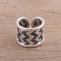 Sterling silver wrap ring, 'Stylish Weave' - Weave Motif Sterling Silver Wrap Ring from India