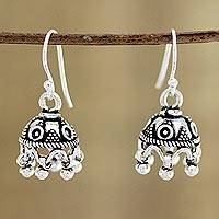 Sterling silver chandelier earrings, 'Gleaming Jhumki' - Jhumki-Style Sterling Silver Chandelier Earrings from India