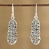 Sterling silver dangle earrings, 'Floral Straws' - Floral Openwork Sterling Silver Earrings from India