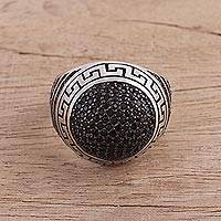 Sterling silver cocktail ring, 'Midnight Dazzle' - Sterling Silver and Black Zircon Cocktail Ring from India