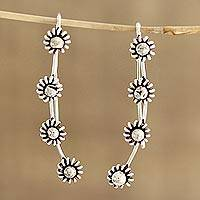 Sterling silver drop earrings, 'Floral Whisper' - Floral Sterling Silver Drop Earrings from India