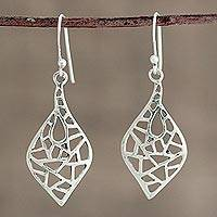 Sterling silver dangle earrings, 'Alluring Web' - Web Motif Sterling Silver Dangle Earrings from India