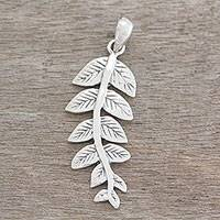 Sterling silver pendant, 'Breezy Leaves' - Artisan Crafted Leafy Sterling Silver Pendant from India