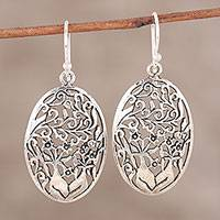 Sterling silver dangle earrings, 'Forest Wall' - Floral Openwork Sterling Silver Dangle Earrings from India