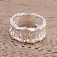 Sterling silver band ring, 'Modern Lines' - Modern Sterling Silver Band Ring from India
