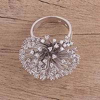 Sterling silver cocktail ring, 'Sparkling Burst' - Sterling Silver and CZ Cocktail Ring from India