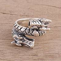 Sterling silver cocktail ring, 'Coiling Dragon' - Sterling Silver Dragon Cocktail Ring from India