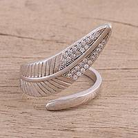 Sterling silver wrap ring, 'Leafy Sparkle' - Sterling Silver and CZ Wrap Ring from India