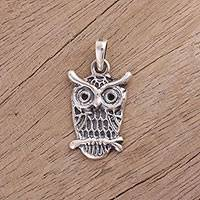 Sterling silver pendant, 'Fascinating Owl' - Owl-Shaped Sterling Silver Pendant from India