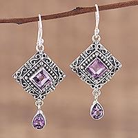 Amethyst dangle earrings, 'Castle Walk' - Artisan Crafted Sterling Silver and Amethyst Earrings