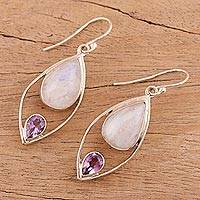 Rainbow moonstone and amethyst dangle earrings, 'Marquise Marriage' - Dangle Earrings with Rainbow Moonstone and Amethyst