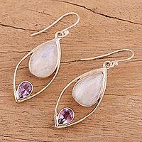 Rainbow moonstone and amethyst dangle earrings, 'Marquise Marriage' - Dangle Earrings with Rainbow Moonstone and Amethyst