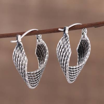 Sterling silver hoop earrings, 'Turn Around' - Unique Sterling Silver Hoop Earrings with Twist Design