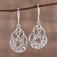 Sterling silver dangle earrings, 'Oval Bubbles' - Modern Sterling Silver Earrings with Bubble Shapes