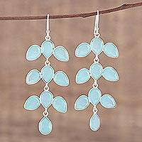 Chalcedony chandelier earrings, 'Leaf Cascade' - Long Aqua Blue Chalcedony Chandelier Earrings