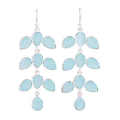 Chalcedony chandelier earrings, 'Leaf Cascade' - Long Aqua Blue Chalcedony Chandelier Earrings