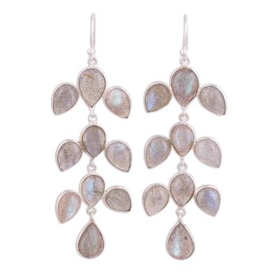 Labradorite dangle earrings, 'Leaf Cascade' - Dangle Earrings with Labradorite and Silver