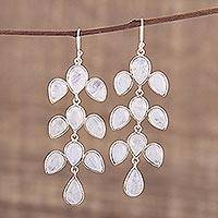Rainbow moonstone dangle earrings, 'Leaf Cascade' - Rainbow Moonstone Cabochon Dangle Earrings