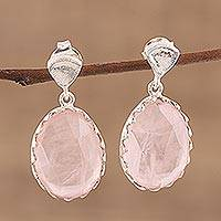 Rose quartz dangle earrings, 'Cherish Me' - Rose Quartz and Sterling Silver Dangle Earrings from India