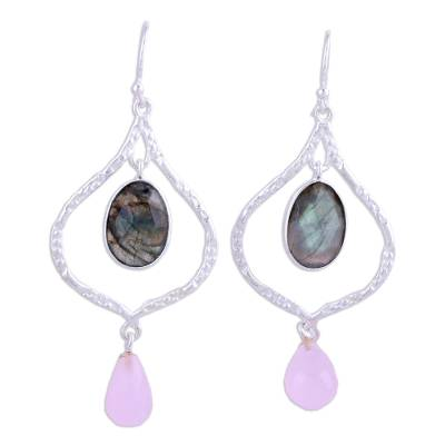 Labradorite and rose quartz dangle earrings, 'Moroccan Window' - Sterling Silver Earrings with Labradorite and Rose Quartz