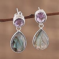 Amethyst and labradorite dangle earrings, 'Lavender Alliance' - 23 Carat Amethyst and Labradorite Dangle Earrings