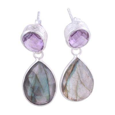 Amethyst and labradorite dangle earrings, 'Lavender Alliance' - 23 Carat Amethyst and Labradorite Dangle Earrings