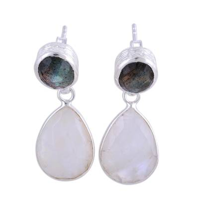 Rainbow moonstone and labradorite dangle earrings, 'Misty Alliance' - Rainbow Moonstone and Labradorite 23 Ct Earrings