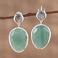 Aventurine and labradorite dangle earrings, 'Verdant Delight' - Combination Aventurine and Labradorite Dangle Earrings
