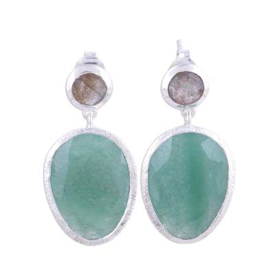 Aventurine and labradorite dangle earrings, 'Verdant Delight' - Combination Aventurine and Labradorite Dangle Earrings