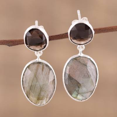 Labradorite and smoky quartz dangle earrings, 'Smoke and Mist' - Textured Silver Labradorite and Smoky Quartz Earrings