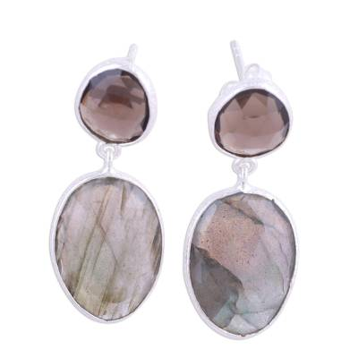 Labradorite and smoky quartz dangle earrings, 'Smoke and Mist' - Textured Silver Labradorite and Smoky Quartz Earrings